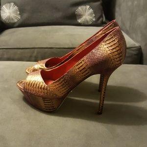 Auth Sergio Rossi heels 37.5 python peep toe New